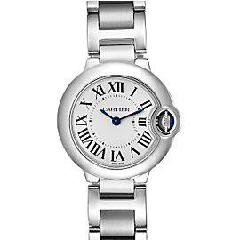 Cartier Ballon Blue 29 Silver Dial Quartz Steel Ladies Watch