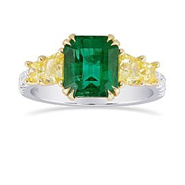 Leibish 950 Platinum and 18K Yellow Gold with 2.29ct Green Emerald & Diamond Ring Size 6