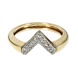 "14K Yellow & White Gold Diamond ""V"" Shape Ring Size 7.75"
