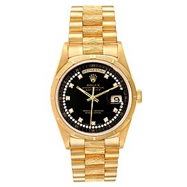 Rolex President Day-Date Yellow Gold Bark Diamond Dial Mens Watch 18248