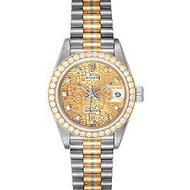 Rolex President Tridor White Yellow Rose Gold Diamond Ladies Watch