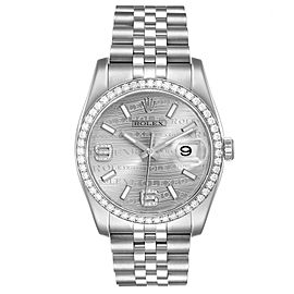Rolex Datejust 36 Silver Wave Diamond Dial Mens Watch 116244