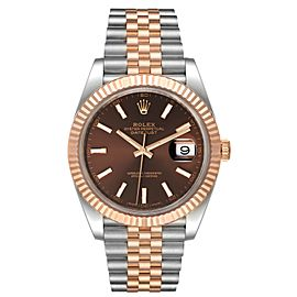 Rolex Datejust 41 Steel Everose Gold Chocolate Dial Watch 126331