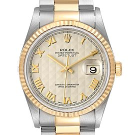 Rolex Datejust Steel Yellow Gold Pyramid Roman Dial Mens Watch