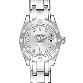 Rolex Pearlmaster White Gold Silver Dial Diamond Ladies Watch