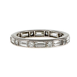 Estate Tiffany & Co Baguette Round Diamond Eternity Band Ring