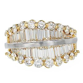 18K Yellow Gold with Baguette Diamond Ring Size 6.75
