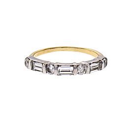 Vintage 1950 round Baguette Diamond Band Ring 14k Yellow & White Gold