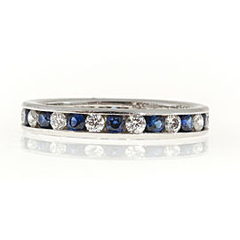 Kwiat B Platinum with 0.42ct Diamond and 0.70ct Sapphire Eternity Band Ring Size 5