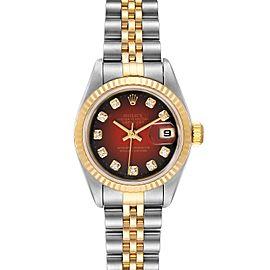 Rolex Datejust Steel Yellow Gold Red Vignette Diamond Ladies Watch
