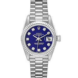 Rolex President Datejust White Gold Lapis Lazuli Diamond Ladies Watch