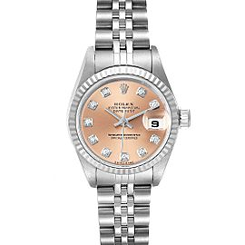 Rolex Datejust Steel White Gold Salmon Diamond Dial Ladies Watch