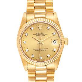 Rolex President Datejust 31 Midsize 18K Gold Diamond Watch