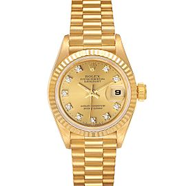 Rolex President Datejust Yellow Gold Diamond Ladies Watch