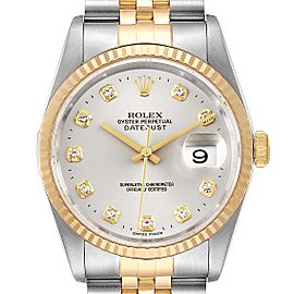 Rolex Datejust Steel Yellow Gold Silver Diamond Dial Mens Watch
