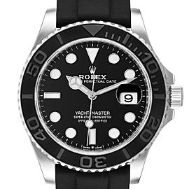 Rolex Yachtmaster White Gold Black Rubber Strap Watch