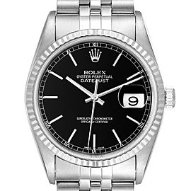 Rolex Datejust 36 Steel White Gold Black Dial Mens Watch 16234