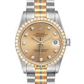 Rolex President Tridor 31mm Midsize White Yellow Rose Diamond Watch
