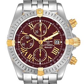 Breitling Chronomat Steel Yellow Gold Burgundy Dial Mens Watch