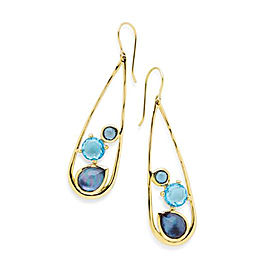 Ippolita Rock Candy 18K Yellow Gold with Blue Topaz and Blue Quartz Drop Dangle Earrings