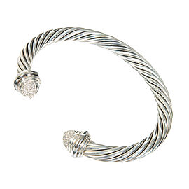 David Yurman Sterling Silver and 18K White Gold 0.55ct Diamond Vintage Bangle Bracelet