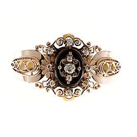 14K Rose Gold Black Onyx Diamond Bangle Bracelet