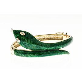 14K Yellow Gold with 0.02ct. Diamond Eyes Snake Bangle Bracelet