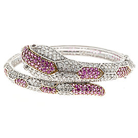18K White Gold with Sapphire, Ruby and Diamond Snake Bangle Bracelet