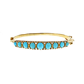 14K Yellow Gold with Turquoise & Diamond Victorian Bangle Bracelet