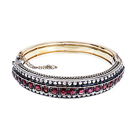 18K Yellow Gold with Garnet and Diamond Bangle Bracelet