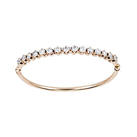 14K Rose Gold 2.55ct European Cut Diamond Oval Vintage Bangle Bracelet