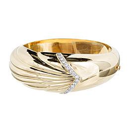 18K Yellow and White Gold with Diamond Bangle Bracelet