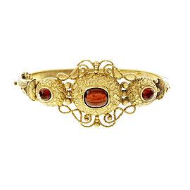 14K Yellow Gold Garnet Cabochon Vintage Bangle Bracelet