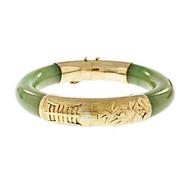 14K Yellow Gold with Green Jadeite Jade Bangle Bracelet