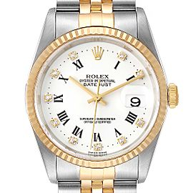 Rolex Datejust Steel Yellow Gold White Roman Diamond Dial Mens Watch