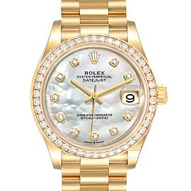 Rolex President Midsize Yellow Gold Diamond Ladies Watch 278288
