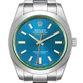 Rolex Milgauss Blue Dial Green Crystal Steel Mens Watch