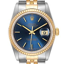 Rolex Datejust Steel Yellow Gold Blue Dial Mens Watch 16233