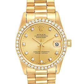 Rolex President Datejust 31 Midsize Yellow Gold Diamond Ladies Watch