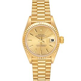 Rolex President Datejust 18K Yellow Gold Ladies Watch 69178 Papers