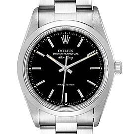 Rolex Air King 34 Black Dial Domed Bezel Steel Mens Watch