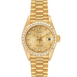 Rolex President 26 Yellow Gold Pyramid Bezel Diamond Ladies Watch