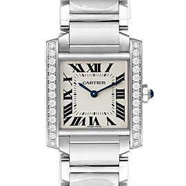 Cartier Tank Francaise Midsize Diamond Steel Ladies Watch W4TA0009