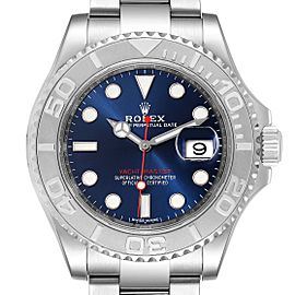 Rolex Yachtmaster 40mm Steel Platinum Blue Dial Mens Watch
