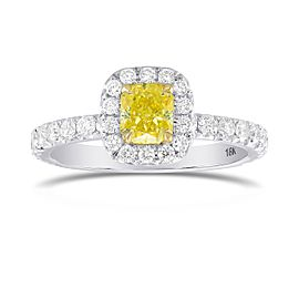Leibish 18K Yellow and White Gold with 1.27ctw Diamond Halo Ring Size 5.75