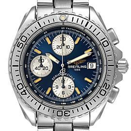 Breitling Aeromarine Chrono Shark Blue Dial Steel Mens Watch