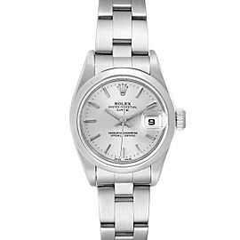 Rolex Date Silver Dial Oyster Bracelet Steel Ladies Watch