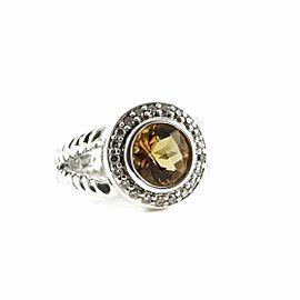 David Yurman 925 Sterling Silver with Citrine & 0.20tcw Diamond Petite Cerise Ring Size 5