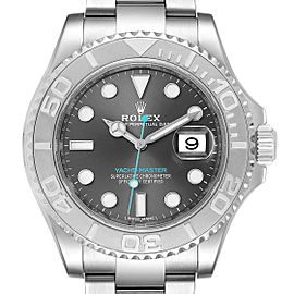 Rolex Yachtmaster Rhodium Dial Steel Platinum Mens Watch