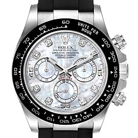 Rolex Cosmograph Daytona White Gold MOP Diamond Dial Mens Watch